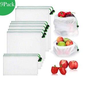 9 Упаковок многоразовые сетчатые продуктовые сумки экологически чистые прозрачные моющиеся сетчатые сумки для фруктов и овощей и игрушек х...