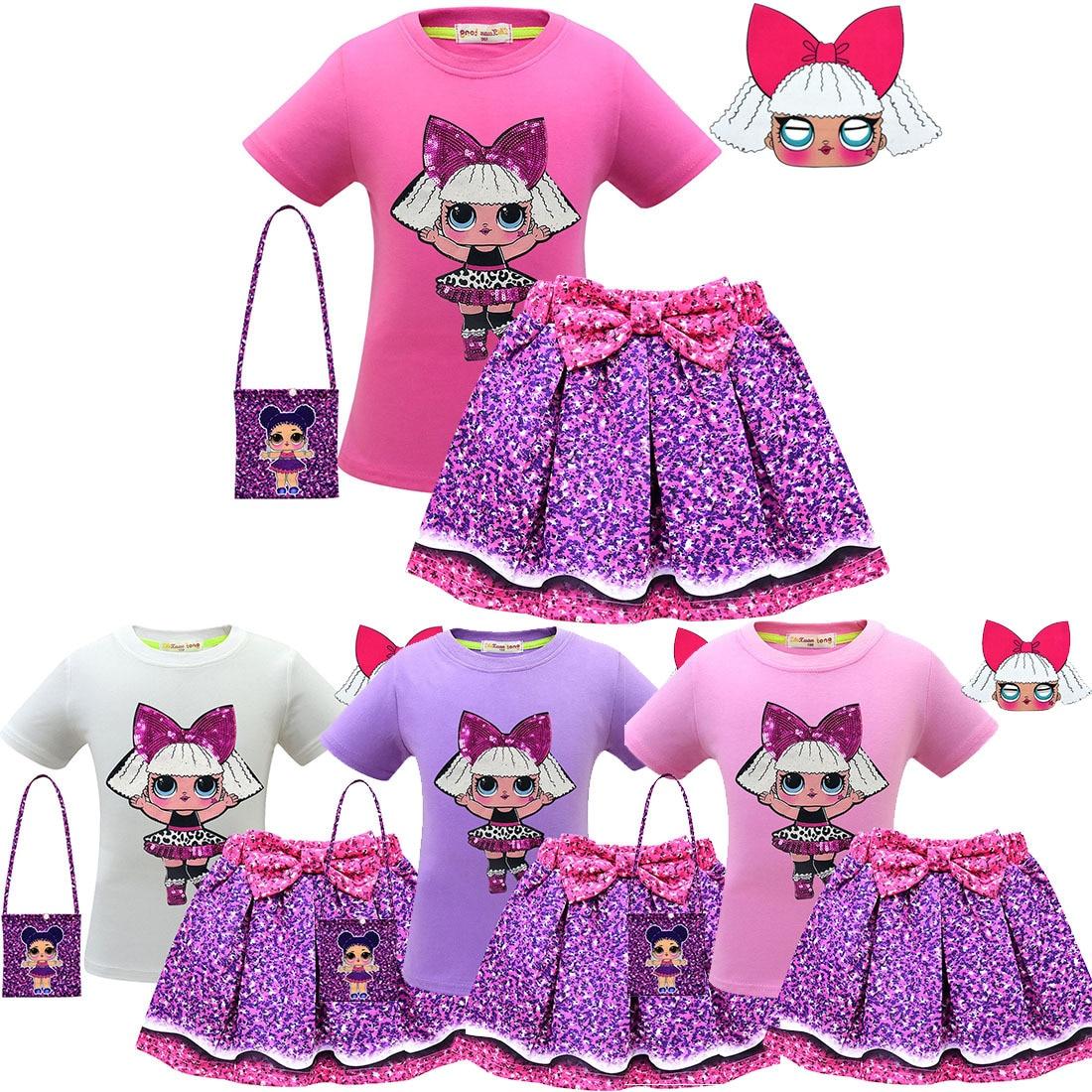2019 New Surprise Children LOl Suit Skirt Cartoon Girls Short-sleeved Pleated Skirt Bow Mask 4 Sets
