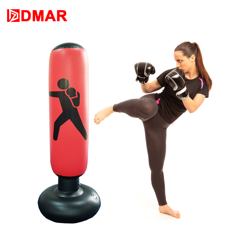 DMAR 160cm Boxing Punching Bag Inflatable Free-Stand Tumbler Muay Training Pressure Relief Back Sandbag With Air Pump Sport Home