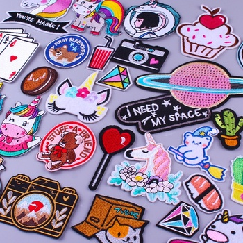 Prajna Cartoon Unicorn Camera Patches Embroidered For Clothing Iron On Cute Bear Badges Stripes Kids Clothes