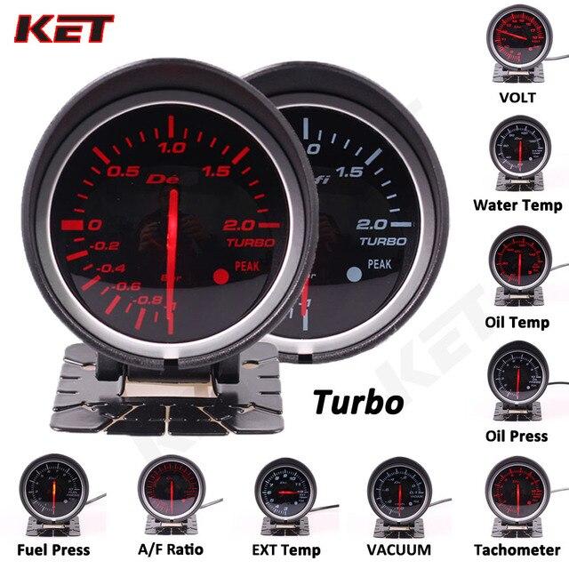 Difi BF 60mm Smoke Lens Auto Gauge Volt Water Temp Oil Temp Oil Press Rpm Turbo Boost Ext Temp Air fuel Ratio Auto Gauge Meter