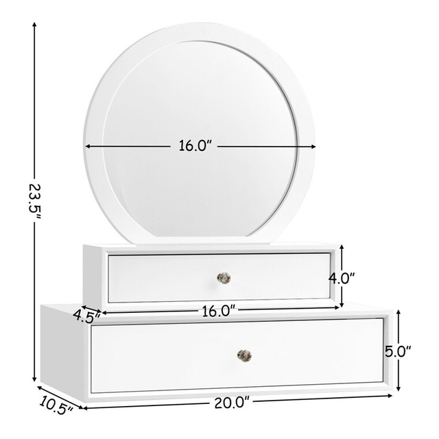 Bedroom Furniture White Makeup Dresser Table Dressing Wall Mounted Vanity Mirror with 2 Drawer HW65956 6