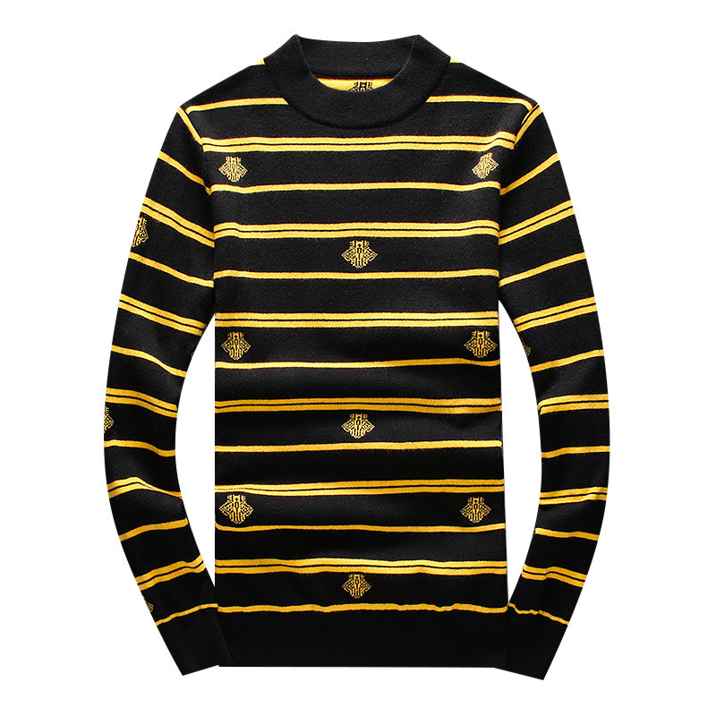 New 2019 Men Luxury Winter Hot Striped Abstract Embroidered Casual Sweaters Pullover Asian Plug Size High Quality Drake #N49