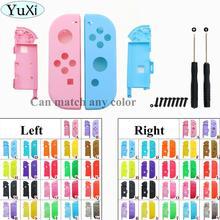 Yuxi capa carcaça para controle nx, rosa, roxo, azul, amarelo, verde, para nintendo switch ns joy con, substituição de carcaça capa com estojo