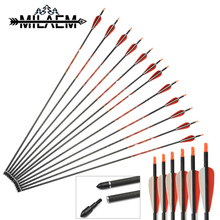 12Pcs Spine 400 Carbon Arrow With Best Quality Pure Material Straight 0.006 OD 7.6 mm ID 6.2 Archery Shooting