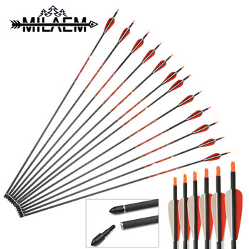 12Pcs Spine 400 Carbon Arrow With Best Quality Pure Carbon Material With Straight 0.006 OD 7.6 mm ID 6.2 mm Archery Shooting