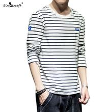 New Listing Mens Striped Letter Printing T-shirt Skinny Slim Tees Male Casual Streetwear Autumn Fashion Tops Clothing Hot M-4XL
