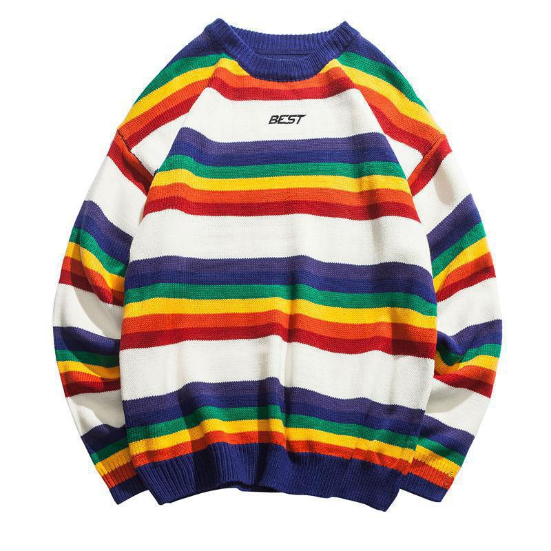 2019 Harajuku Rainbow Striped Knitted Pullover Sweaters Men Hip Hop Patchwork Streetwear Male Fashion O-Neck Sweater