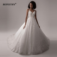 BEPEITHY A line Lace Wedding Dresses For Women V Neck Spaghetti Straps Bridal Gowns Sleeveless Sexy Oganza Wedding Dress 2020