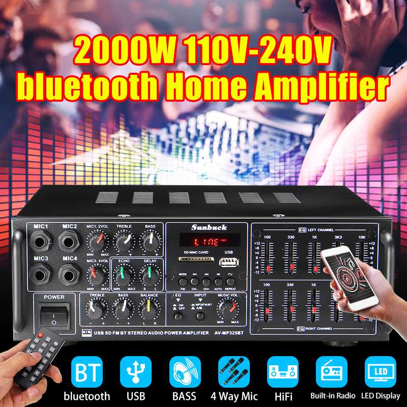 Bluetooth SD USB FM 4*Mic Stereo Amplifier 2000W 2 Channel Tuner HIFI Remote Home Audio HiFi