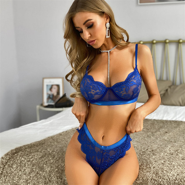 Lingerie Lace Underwear Set Sexy Bra Set Transparent Bra Party Set Blue Lingerie Set Women's Underwear Set of Line LNE161 1