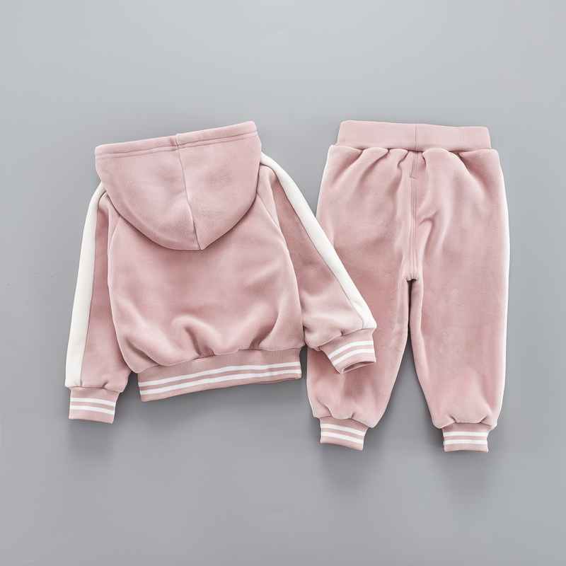 Casual Baby Girl Boy Warm Clothing Set For Toddler Kids Suit Letter Hooded Velvet Autumn Spring Children Outfit 1 2 3 4 5 Years 2