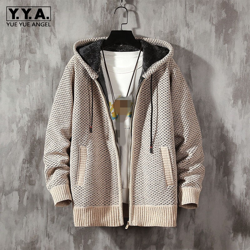 Winter New Men Thicken Cashmere Warm Hooded Warm Coat High Street Fashion Casual Outerwear Korean Style Cotton Knitting Jackets