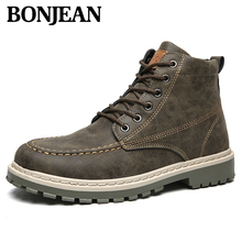 Hot Sale Men Pu Leather Lace-up soft Shoes High Quality Classic Vintage British Military Boots Autumn Winter Plus Size