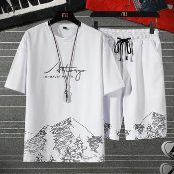 Men Sets White Fashion Hip Hop Tracksuits Male T Shirts Shorts Two Pieces Sports Tee Shirts Shorts Men's Track suit Oversize 4XL 1