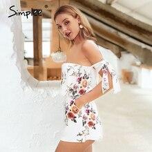 Jumpsuit Romper Short Overalls Simplee Bohemian Summer Strap Beach-Flower Shoulder-Print