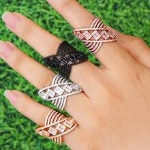 GODKI anillo de compromiso de zirconia cúbica geométrica, concha de flor de lujo, anillos de dedo nupciales de Naija de Dubái, joyería