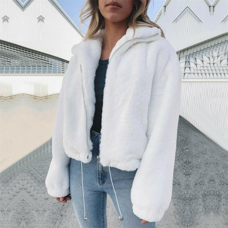 Autumn Winter Warm Plus Size Women's Long Sleeve Zipper Knitted Fluffy Cardigan Sweater Pocket Coat Jacket