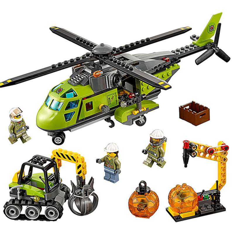 City Series Volcano Supply Helicopter Geological Prospecting Legoinglys Model Building Block Bricks Toys Christmas Gift