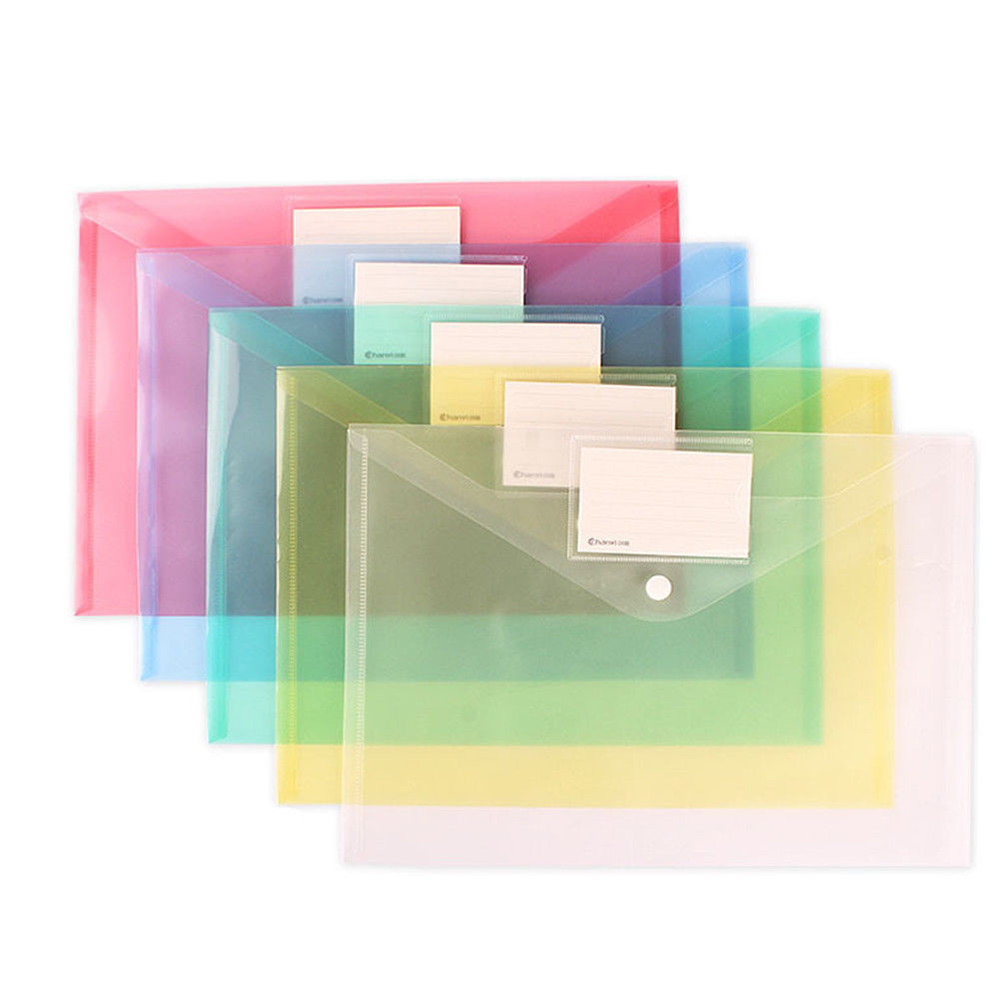 Clear Document Bag Paper File Folder Stationery School Office Supply Case PP Material 6colors