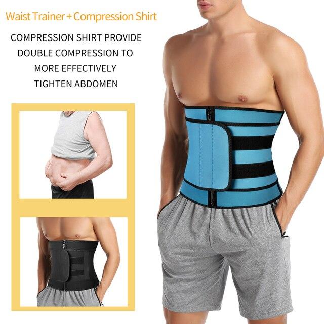 Men Workout Waist Trainer Abdomen Sweat Slimming Belt Weight Loss Shapewear Neoprene Fitness Belly Shapers Sauna Trimmer Belt 3