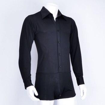 Latin Dance Top Men Leotard Dancing Practice Clothes Ballroom Shirt Black Tango Wear Competition Adult Dance Tops Latin man 388