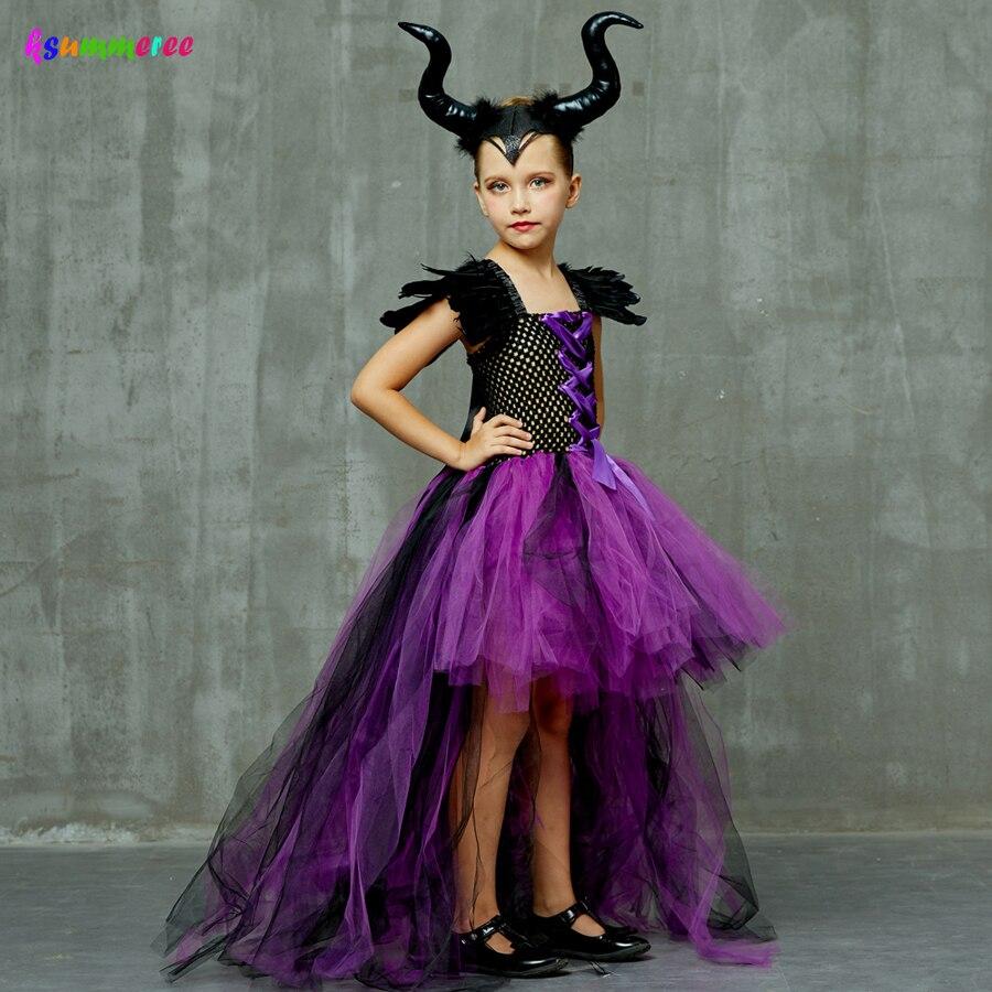 Purple Black Children Maleficent Costume Girls Dark Witch Villain Halloween Fancy Tutu Dress Evening Party Carnival Ball Gowns 3