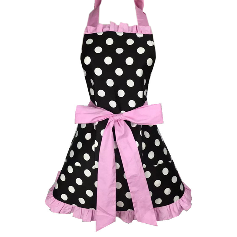 Lovely Sweetheart Retro Kitchen Aprons for Woman Girl Cotton Polka Dot Cooking Salon Pinafore Vintage Apron Dress Christmas Pink|Aprons| |  - title=