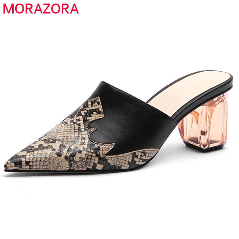 MORAZORA 2020 Hot Sale Big Size 45 Women Pumps Pointed Toe Snake Mules Shoes Crystal High Heels Party Wedding Shoes Woman