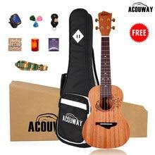 Acouway укулеле концертный сопрано Тенор укулеле корпус из красного дерева 21/23/26 дюйма Гавайские гитары для начинающих + чехол на лямках для тюн...