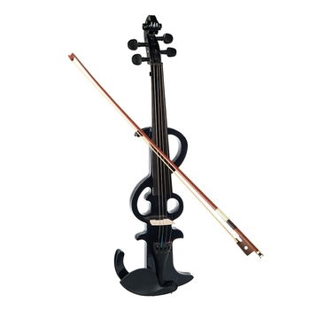 NAOMI Electric Violin 4/4 Electric Silent Violin Full Size Violin Ebony Fretboard +Case-Black SET 1 4 violin scrub violin student violin set violin beginner natural color violin use