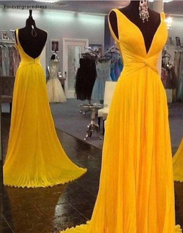 2019 Yellow Plunging V Neck Prom Dress A-Line Sleeveless Chiffon Formal Holiday Wear Party Gown Custom Made Plus Size