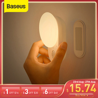 Baseus-luces LED de noche con Sensor de movimiento magnético para interiores, lámparas de pared recargables por USB, decoración de Luna para dormitorio y almacén