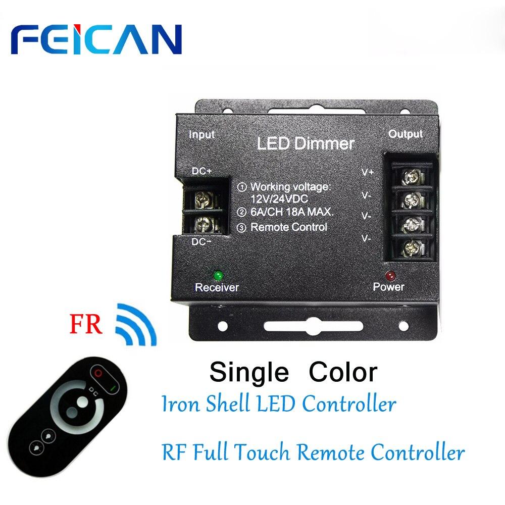 FEICAN DC12-24V 6A/CH RF Toque de Controle Remoto Completo 3 Canal Ferro Shell LEVOU Controlador De Cor Única LED tira RGB Ligh