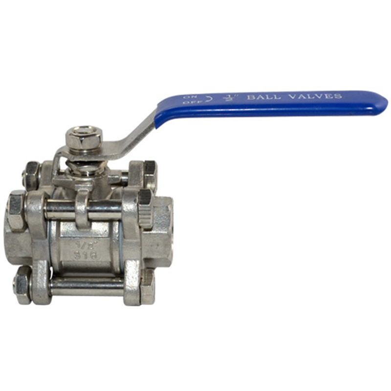 BSPT <font><b>1/2</b></font> Inch DN15 3 Piece Full Port <font><b>Ball</b></font> <font><b>Valve</b></font> Thread Type Stainless Steel 316 1000 Psi Handle with Blue Vinyl Insulation image
