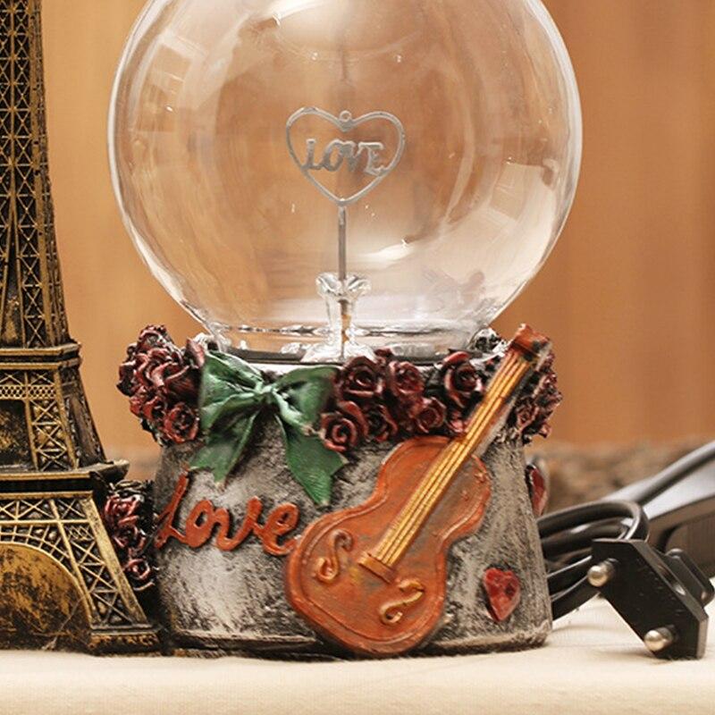 Créatif veilleuse décoration amant cristal ornement Unique fée Miniatura lumière cristal artisanat décoration guitare motif Globe - 6