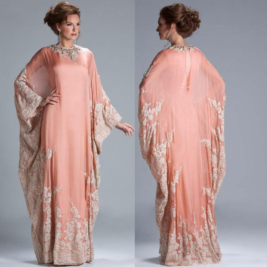 Lace Applique Evening Prom Gowns Muslim Caftan Party Gown 2018 Saudi Arabian Dubai Mother Of The Bride Dresses