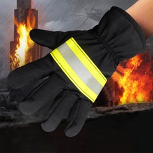 Fireproof Safety Gloves Black Reflective Belt Fire Gloves Protection Supplies For Welding And Cold Weather Firefighting Gloves