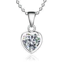 Elegant CZ Stone Rhinestones Heart Pendant Necklace 925 Sterling Silver Chain Necklace Female Jewelry Gift For Women Girls(China)