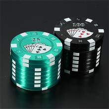 3 слоя покер чип стиль травы измельчитель табака и травы измельчители курительная трубка аксессуары гаджет красный/зеленый/черный