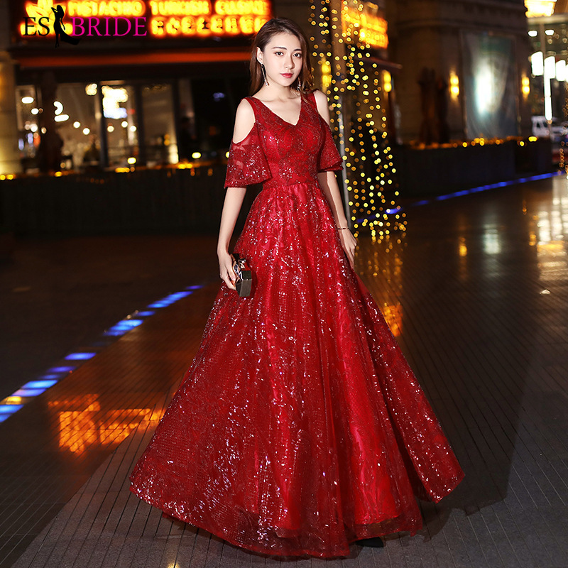 Red Elegant Evening Dresses For Women A-Line Double V-Neck Short Sleeve Tulle Sparkle Formal Party Gowns Vestito Lungo