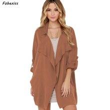 Trench Coat Women Fall 2019 Plus Size Cardigan Windbreak Three Quarter Turn Down Collar With Pocket Elegant Vintage Trench Coat