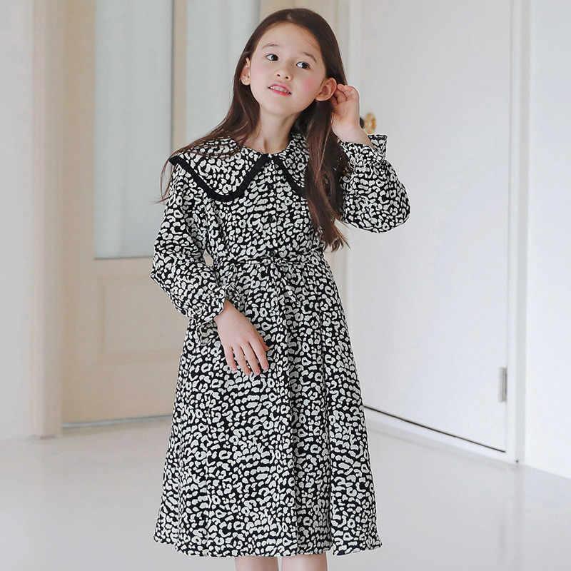 4 Tot 18 Jaar Kids & Tiener Meisjes Lange Mouw Luipaard Print Flare Casual Jurk Kinderen Meisje Mode Lente Jurken