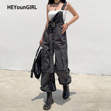 HEYounGIRL Casual Cargo Long Jumpsuit Pants Women Harajuku Sleeveless Stappy Overall with Sashes Solid Romper Ladies Streetwear