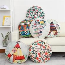 45X45CM Round Rainforest Plant Chair Pillow Cover Cushion Polyester Throw Sofa Home Decorative Pillowcase