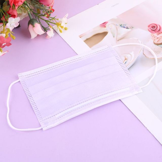 10/20/50/100/200Pcs Purple Disposable Civil Cloth Face Mask Non-woven Breathable Three-layer Mouth Mask 3