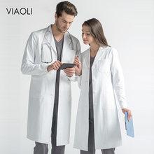Alta qualidade branco casaco de laboratório médico médico magro uniforme enfermeira spa uniforme de enfermagem esfrega uniformes médicos