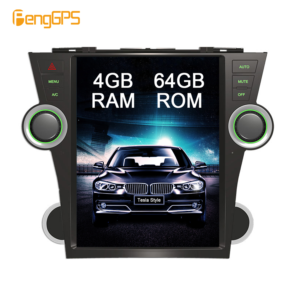6 Core Android 8 1 Tesla Style Car Radio forToyota Highlander 2009 2013 GPS Navigation DVD