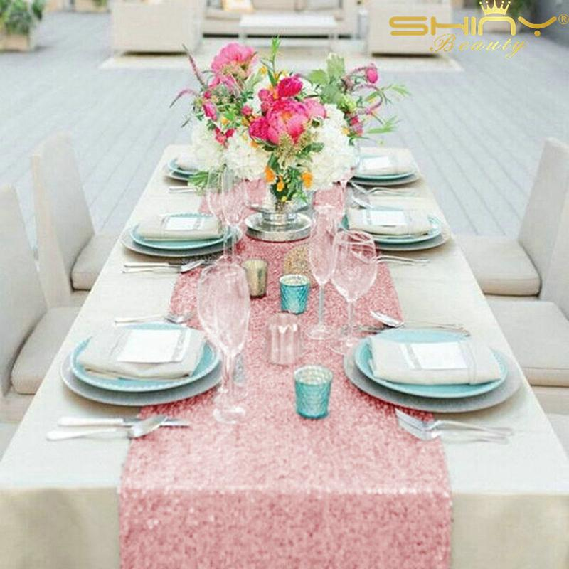 10    12*108inch(30*275cm) Gold/Silver/Rose Gold/Champagne/Pink/Fuchsia/Black Sequin Table Runner For Wedding/Party Decoration