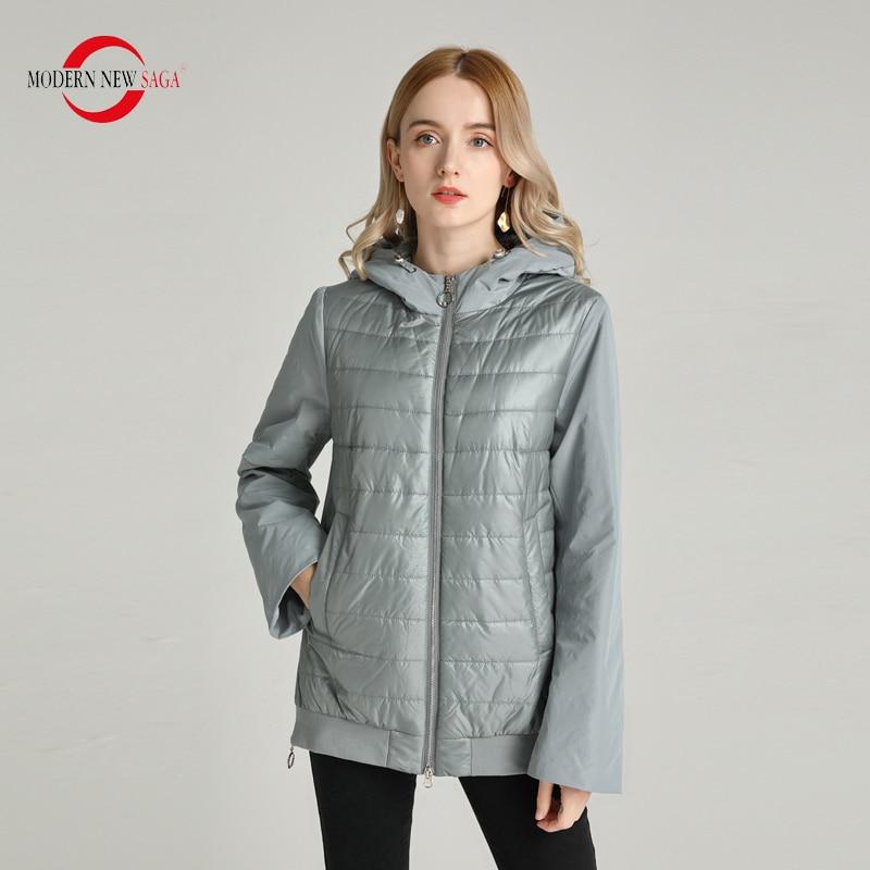 MODERN NEW SAGA 2020 Spring Women Jacket Fashion Women Coat Hooded Thin Cotton Padded Jacket Autumn Puffer Jacket Women Clothing